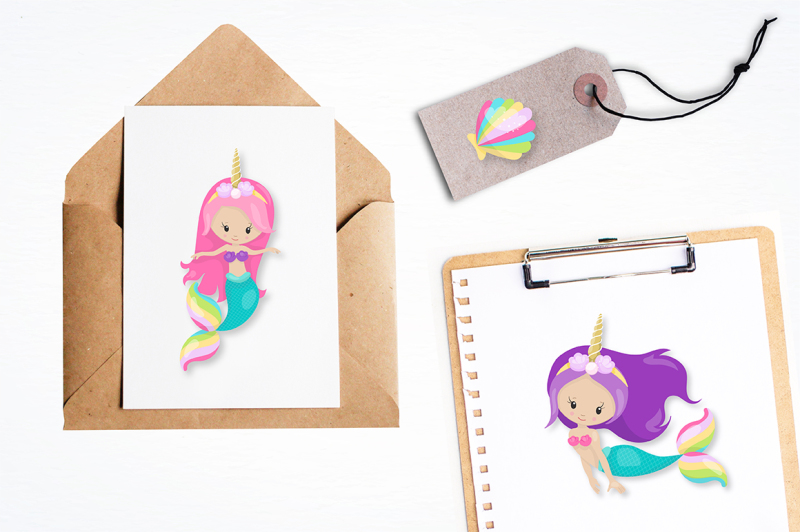 mermaid-unicorn-graphics-illustrations