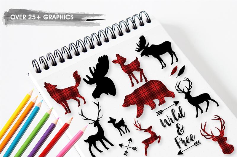 woodland-cabin-graphics-illustrations