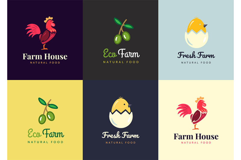 fresh-farm-logos-set-vector-labels-for-business