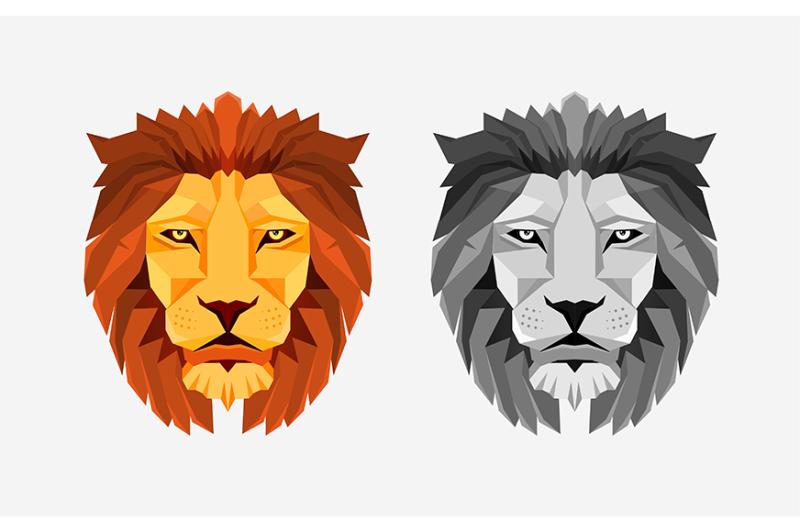 lion-head-low-poly-design-creative-logo-element