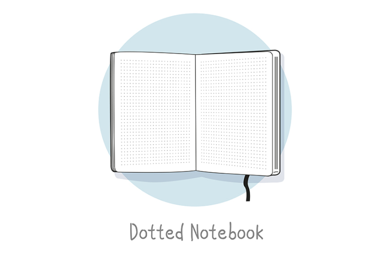 dotted-notebook-illustration-hand-drawn-style-open-sketchbook