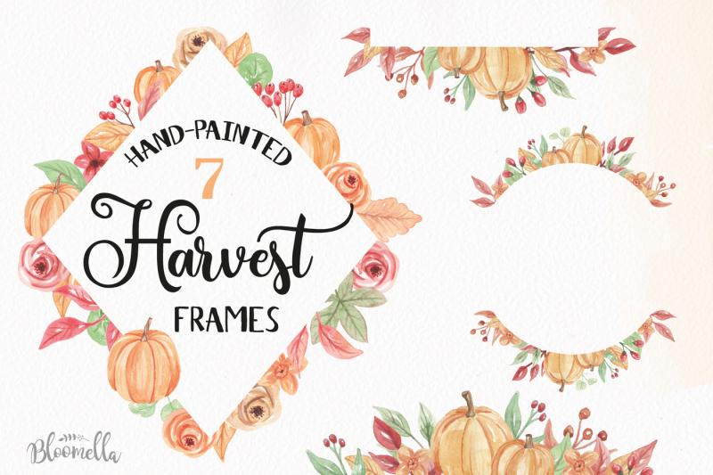 watercolor-pumpkin-frames-clipart-harvest-autumn-fall-borders