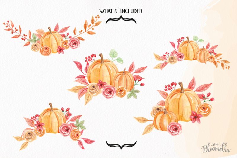 watercolor-pumpkin-clipart-bouquets-harvest-autumn-fall