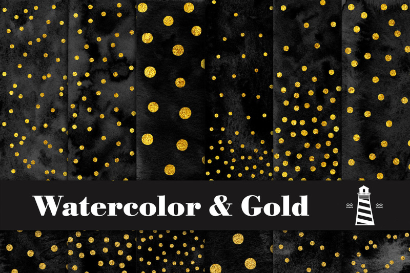 black-watercolor-and-gold-dots-paper