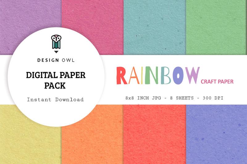 rainbow-craft-paper-digital-paper-pack
