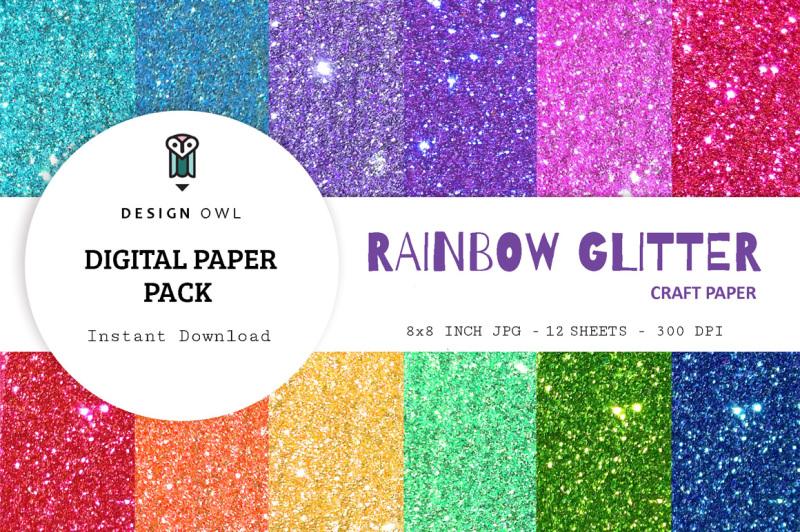 rainbow-glitter-digital-paper-pack