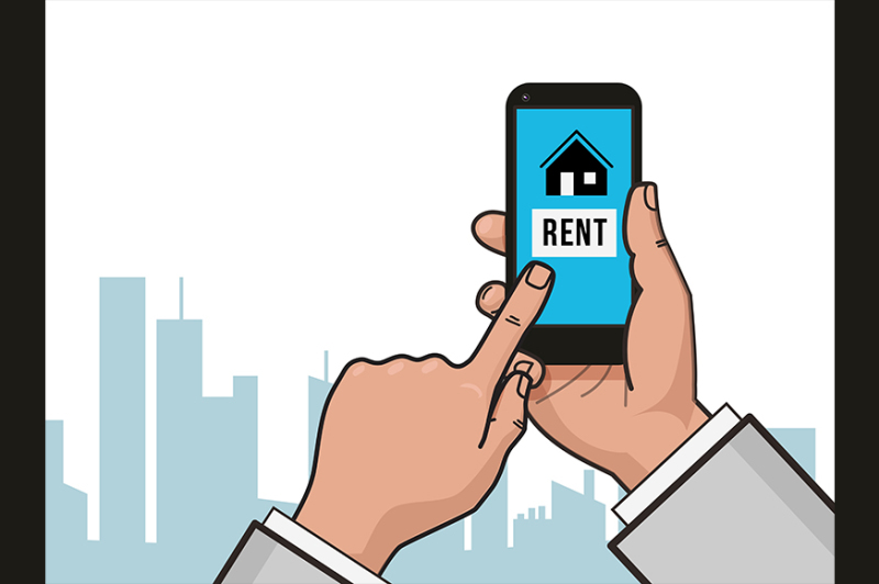 home-icon-on-smartphone-screen-rent-apartments-homes-app