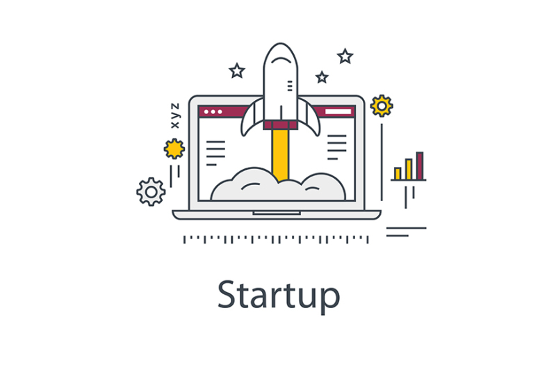 business-startup-illustration-rocket-and-laptop-line-vector-icon