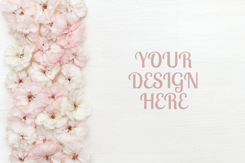 Free Flowers composition. Border made of flowers, white background, flatlay (PSD Mockups)