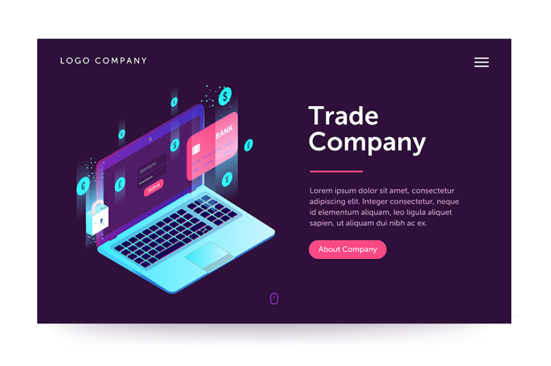 trade-company-illustration-web-banner-with-laptop-and-currency