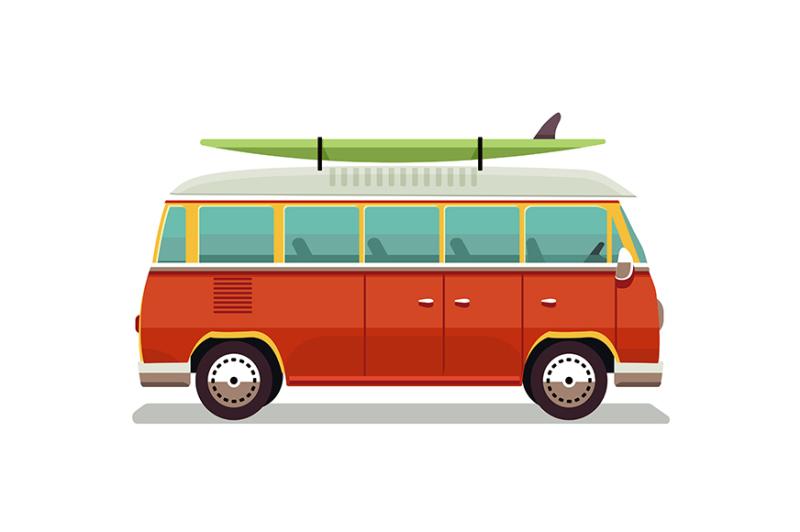 retro-travel-red-van-icon-vector-illustration-in-flat-design