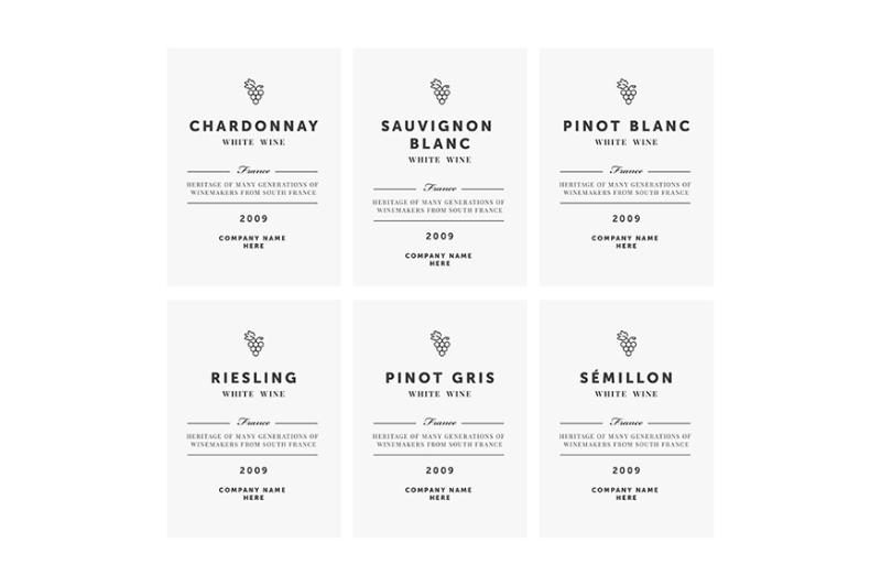 white-wine-labels-vector-premium-template-set
