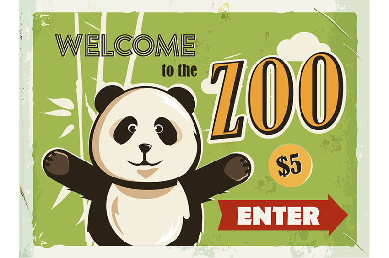 grunge-retro-metal-sign-with-panda-welcome-to-the-zoo