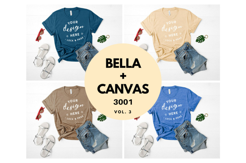 Free Bella Canvas 3001 T Shirt Mockup Flat Lay Bundle Vol. 3 (PSD Mockups)