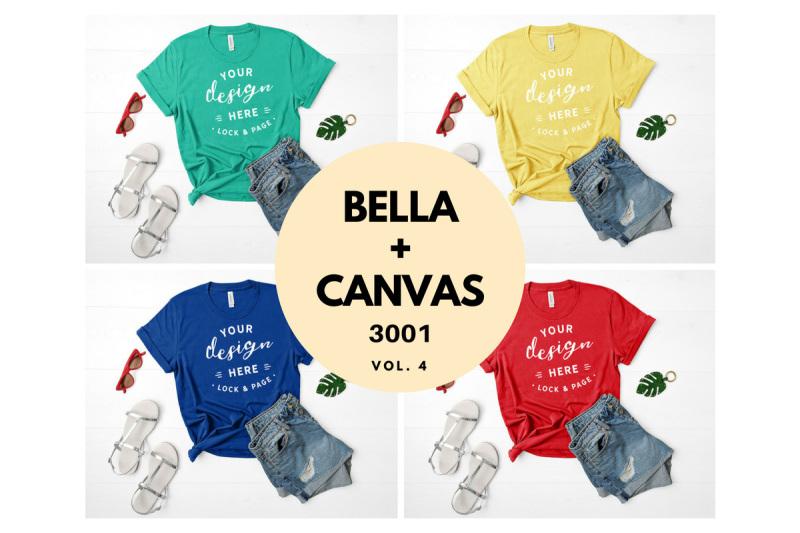 Free Bella Canvas 3001 T Shirt Mockup Flat Lay Bundle Vol. 4 (PSD Mockups)