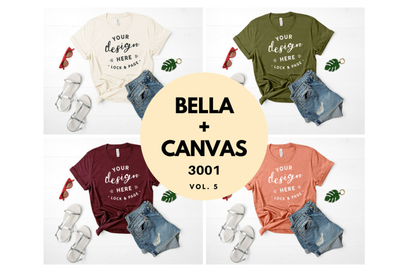 Free Heather Forest T Shirt Mockup Bella Canvas 3001 Feminine Flat Lay (PSD Mockups)