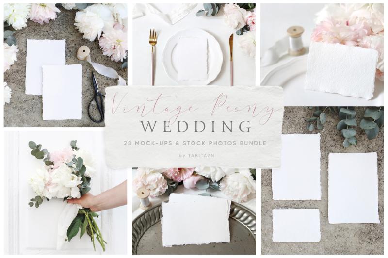Free Vintage peony wedding mockups bundle (PSD Mockups)