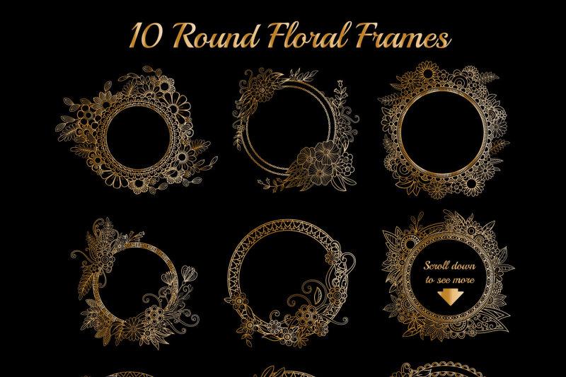 golden-floral-frames