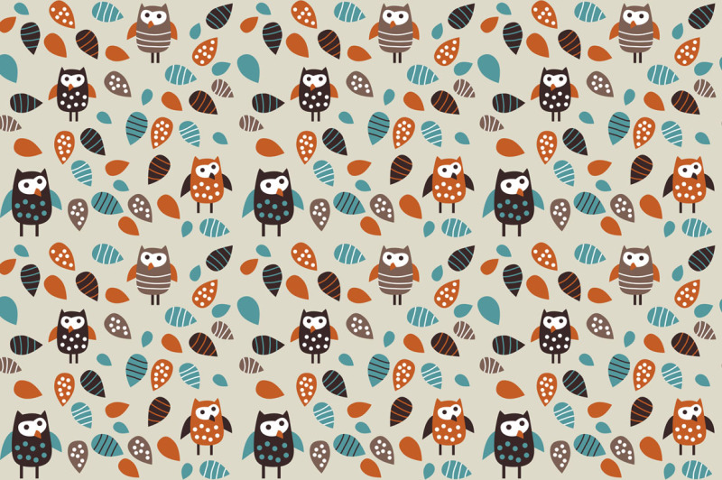 owl-and-leaves-funny-vector-set