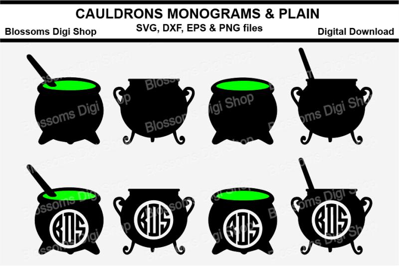 cauldron-plain-amp-monogram-svg-eps-dxf-and-png-cut-files