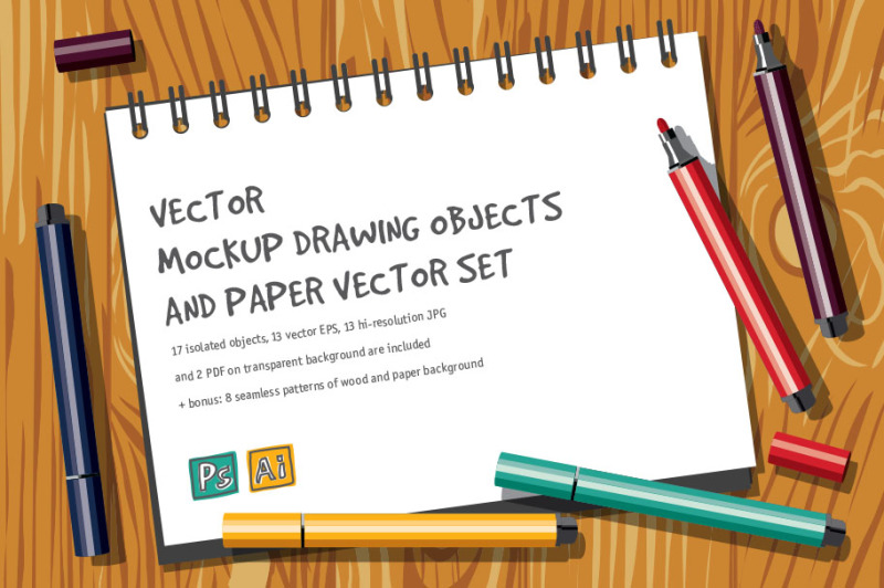Free Vector mockup drawing objects (PSD Mockups)