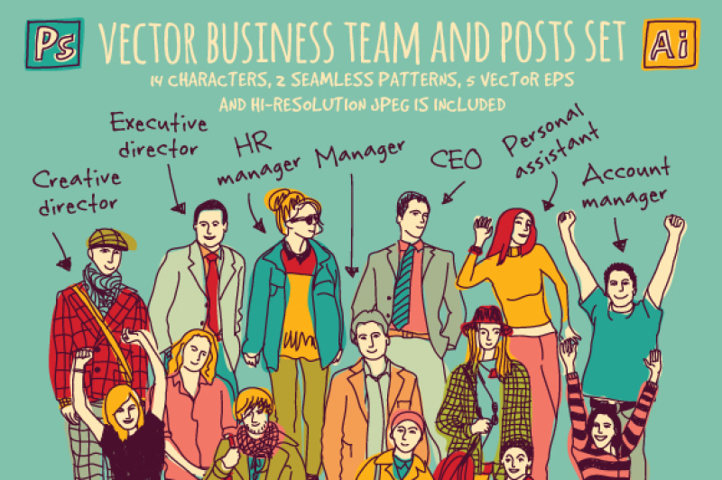 vector-business-team-and-posts-set