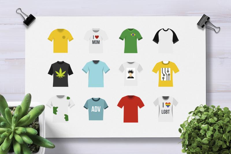 tshirt-icon-set-flat-style