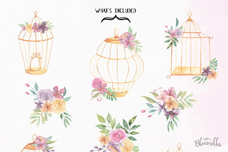 Watercolor Bird Cages Flowers Florals Clipart Set Birdcages