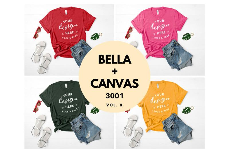 Free Bella Canvas 3001 T Shirt Mockup Flat Lay Bundle Vol. 8 (PSD Mockups)