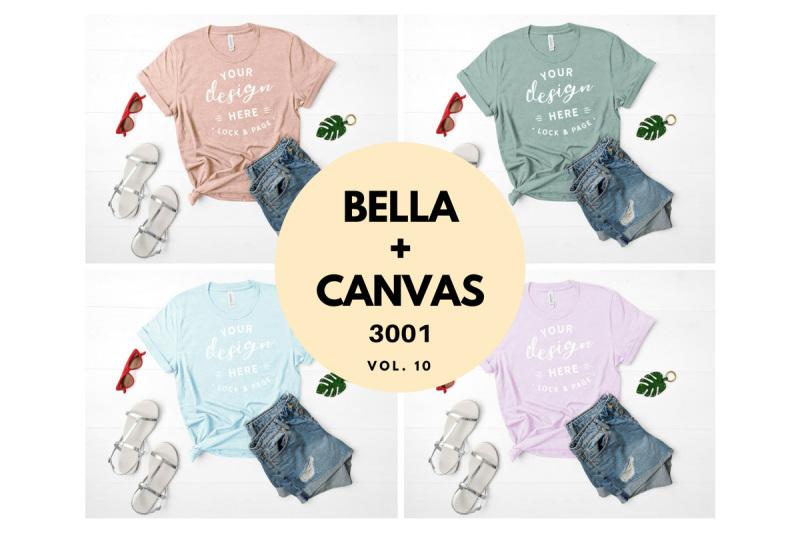 Free Bella Canvas 3001 T Shirt Mockup Flat Lay Bundle Vol. 10 (PSD Mockups)