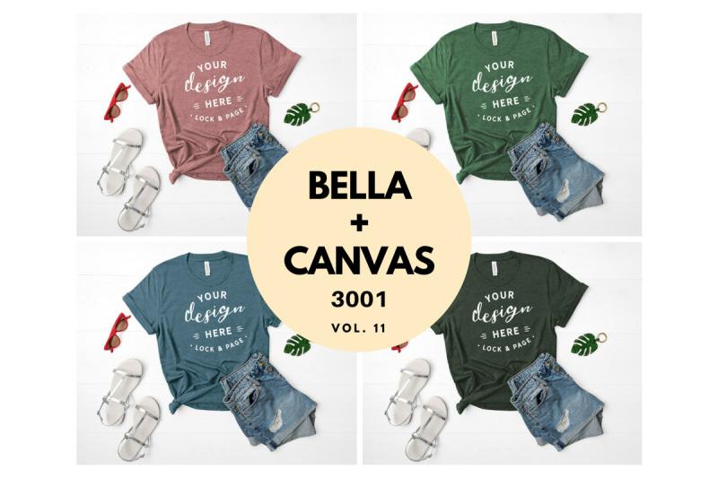 Free Bella Canvas 3001 T Shirt Mockup Flat Lay Bundle Vol. 11 (PSD Mockups)