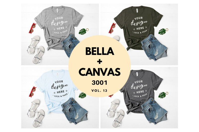 Free Bella Canvas 3001 T Shirt Mockup Flat Lay Bundle Vol. 13 (PSD Mockups)
