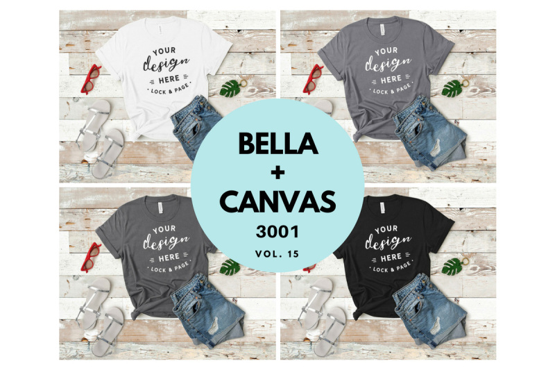 Free Bella Canvas 3001 T Shirt Mockup Flat Lay Bundle Vol. 15 (PSD Mockups)