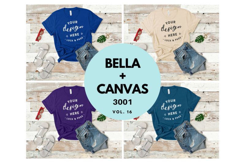 Free Bella Canvas 3001 T Shirt Mockup Flat Lay Bundle Vol. 16 (PSD Mockups)