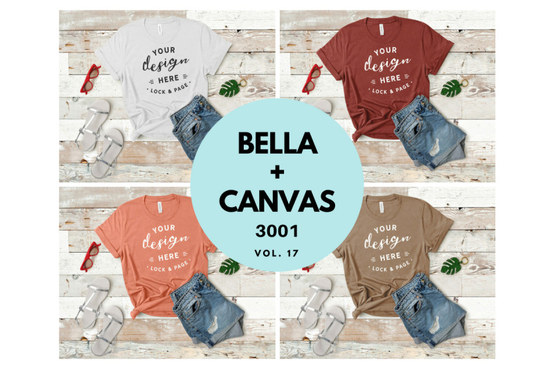 Free Bella Canvas 3001 T Shirt Mockup Flat Lay Bundle Vol. 17 (PSD Mockups)