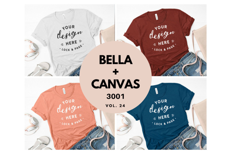 Free Bella Canvas 3001 T Shirt Mockup Flat Lay Bundle Vol. 24 (PSD Mockups)