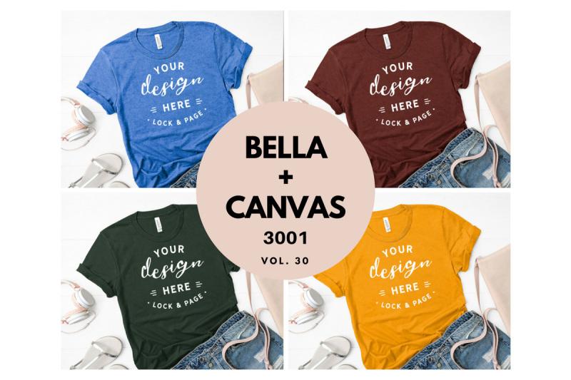 Free TShirt Mockup Bundle Flat Lay Bella Canvas 3001 Vol. 30 (PSD Mockups)