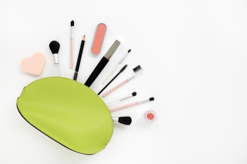 cosmetics-in-a-light-green-beautician-on-white
