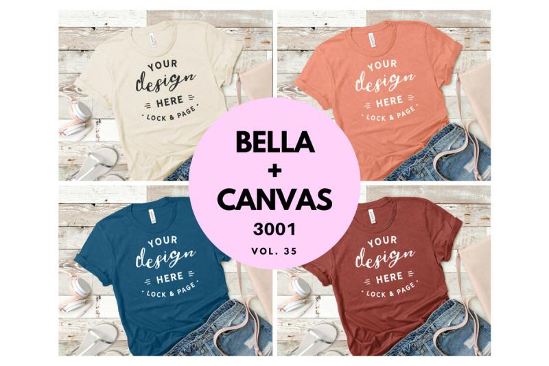Free Feminine T-Shirt Mockup Bundle Bella Canvas 3001 Vol. 35 (PSD Mockups)