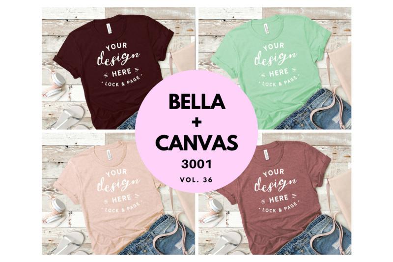 Free Ladies T-Shirt Mockup Bundle Bella Canvas 3001 Vol. 36 (PSD Mockups)