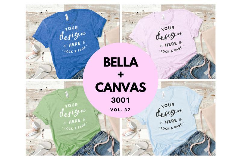 Free Bella Canvas 3001 T Shirt Mockup Flat Lay Bundle Vol. 37 (PSD Mockups)