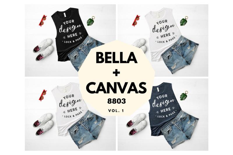 Free Bella Canvas 8803 Tank Top Mockup Muscle Top Flat Lay Vol. 1 (PSD Mockups)