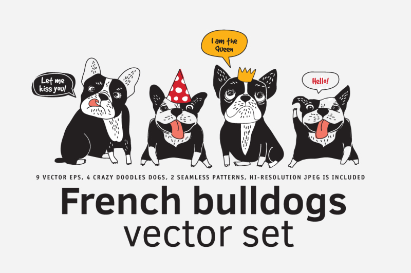 french-bulldogs-vector-set