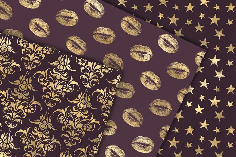 eggplant-and-gold-digital-paper