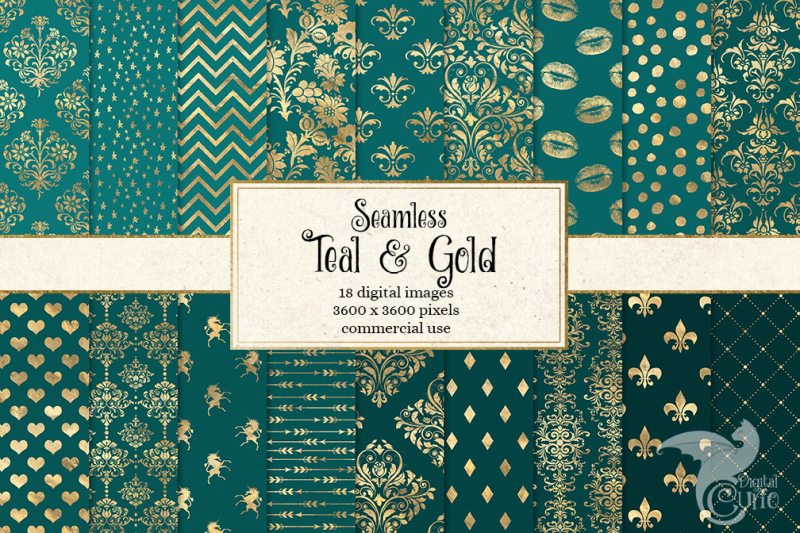 teal-and-gold-digital-paper