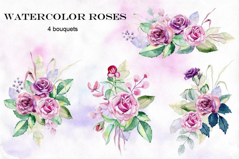 watercolor-roses-set