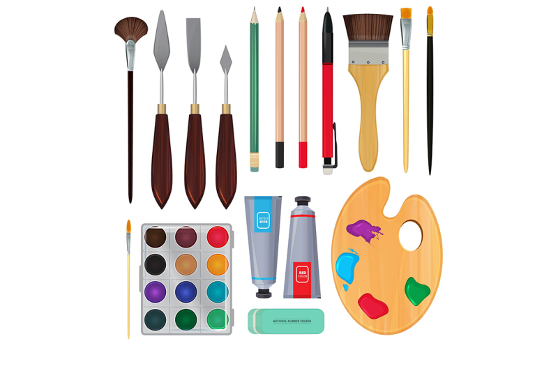 different-materials-for-artists-equipment-for-painting