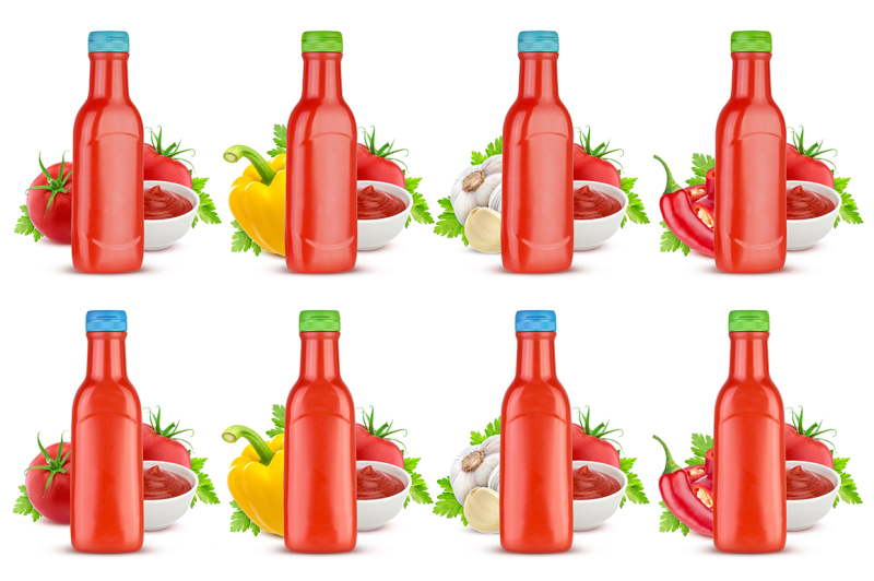 Free Tomato ketchup bottle isolated on white background (PSD Mockups)