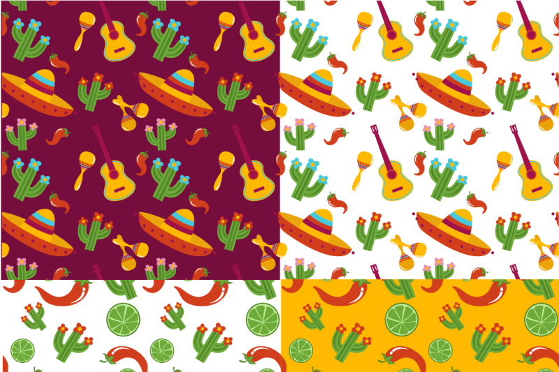 set-of-19-mexico-fiesta-illustartions-4-patterns