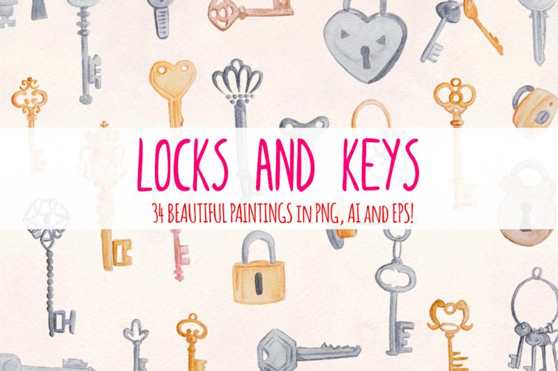 locks-and-keys-34-watercolor-vector-graphics